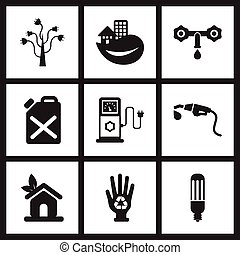 Concept flat icons in black and white ecological fuel