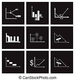 Concept flat icons in black and white infographics
