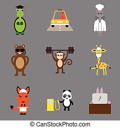 Concept flat icons on gray background animals