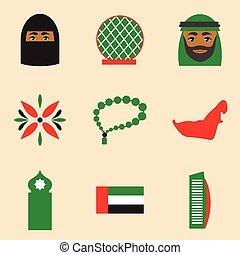 Concept flat icons on white background United Arab Emirates