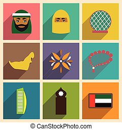 Concept flat icons with long shadow United Arab Emirates