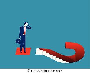 concept, flat., illustration., business, question, vecteur, homme affaires, marks.