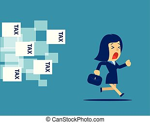 concept, flat., illustration., business, tax., femme affaires, loin, courant, vecteur