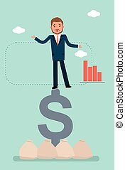 A businessman falls from the dollar sign.