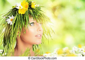 concept, fleurs, nature, cheveux, girl, beauté, fait, mère, grass.