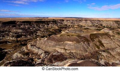 Concept flight Canada Alberta - Aerial Drumheller Canyon...