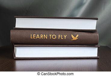 concept., fly., livre, apprendre