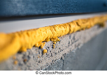 concept., foam., construção, -, installed, urethane, usando,...