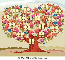 concept folk style family tree vector illustration