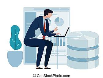 concept, fonctionnement, business, base données, science, ordinateur portable, technology., analytics., diagramme, leaf., environnement, vert, présentation, grand, données, amical, homme