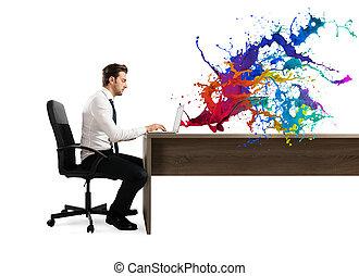 concept, fonctionnement, business, ordinateur portable, créatif, homme affaires