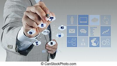 concept, fonctionnement, calculer, main, diagramme, informatique, homme affaires, interface, nouveau, nuage