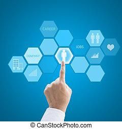 concept, fonctionnement, carrière, moderne, main, ...