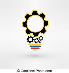 concept, fonctionnement, dents, lumière, idée, engrenages, ensemble, ampoule