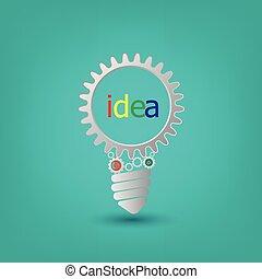 concept, fonctionnement, dents, photo, idée, ensemble, engrenages, fond, ampoule