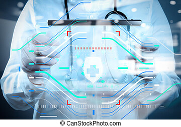 concept, fonctionnement, docteur, moderne, médecine, informatique, interface