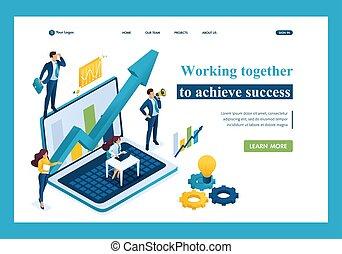 concept, fonctionnement, success., page, atterrissage, ensemble, equipe affaires, réaliser, gabarit, isométrique