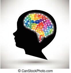 concept, fond, coloré, cerveau, vecteur, humain