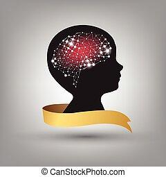 concept, fond, créatif, cerveau, vecteur, humain