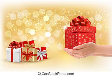 concept, fond, don donne, boxes., présente., vector., noël