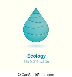 concept, fond, drop., -, eau, coupure, vecteur, écologie, papier, gabarit, mondiale, sauver, bannière, jour