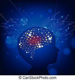 concept, fond, idée, cerveau, vecteur, humain
