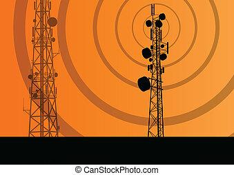 concept, fond, mobile, télécommunications, téléphone, vecteur, radio, base, station, tour, ou