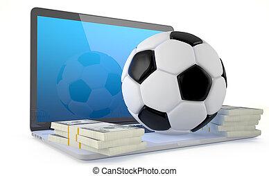 concept., football, parier, ligne
