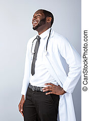 Concept for afro american doctor - Portrait of male afro ...