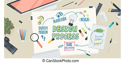 Flat design illustration concept for creative design process. Concept for web banner and promotional material.