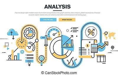 Concept for data analysis - Flat line design vector...