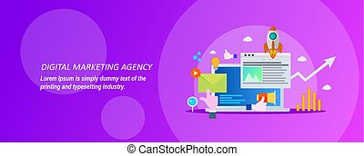 Concept for digital marketing agency on a violet background