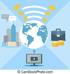Concept for email marketing, global communication
