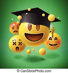 Concept for graduation, group of smiley emoticons