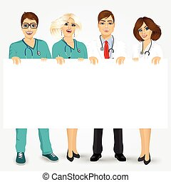 doctors and nurses holding a blank billboard