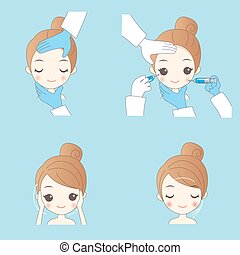 concept for plastic surgery - cartoon woman cosmetic...