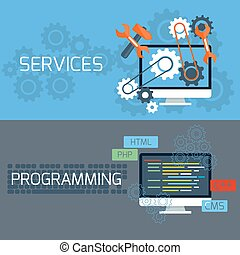 Concept for services and programming - Flat design concept...