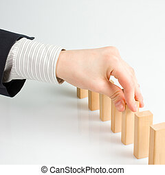 Concept for solution to a problem by stopping the domino...