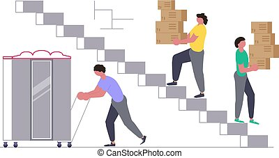 Movers carring a cupboard and cardboard boxes