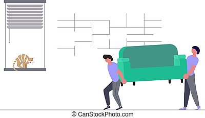 Movers carring a sofa and cardboard boxes.
