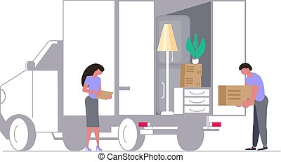 Moving truck with movers and cardboard boxes.