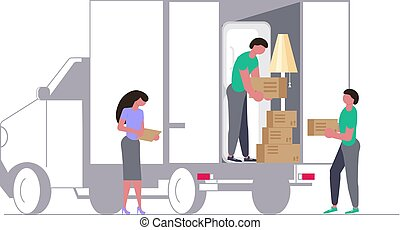 Moving truck with movers and cardboard boxes