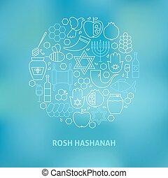 concept, formé, juif, icônes, ensemble, mince, année, ...