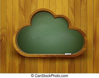 concept., forma, pizarra, vector., cloud., e- aprendizaje
