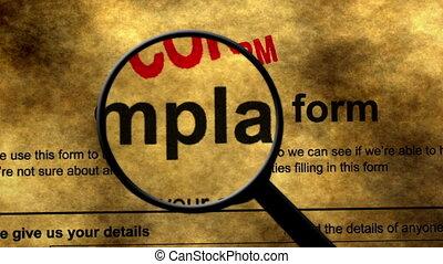 concept, formulaire, plainte, recherche