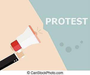 concept, foule, gens, politique, moderne, protestation, révolution, conception, signes, crise, style, affiche, bullhorn, fond, tenue, plat, symbole, protesters, illustration, mains, poings, affiche, politic, vecteur