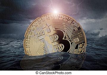 concept, fracas, crypto, bitcoin, marché, stockage