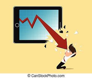 concept, fracas, tablette, écran, flèche, rouges, faillite