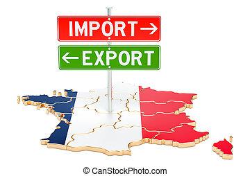 concept, france, rendre, exportation, importation, 3d