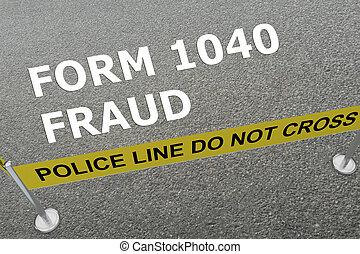 concept, fraude, formulaire, 1040